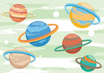 Saturn Planet Vectors - Kostenloses vector #199415