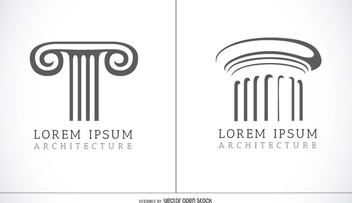 Doric and Ionic columns logo - Free vector #199545