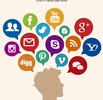 Social media thoughts - Free vector #199575