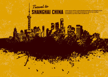 Grunge Shanghai Skyline - Free vector #199595