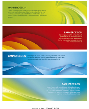 4 Abstract Banners - vector #199675 gratis