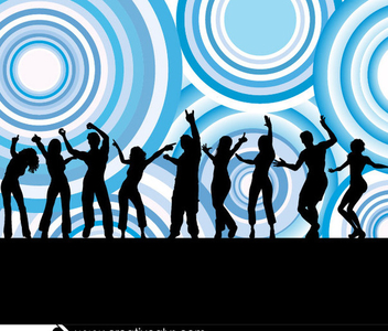 Dancing People Silhouettes Circles - Free vector #199735