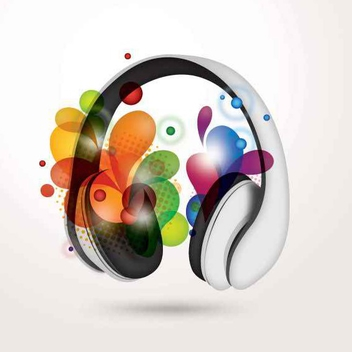 Headphone with Colorful Swirls - vector gratuit #200055