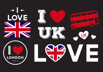 I Love UK Ilustrations - Free vector #200215