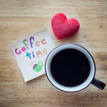 Coffee time and red heart - image gratuit #200335