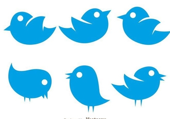 Vector Simple Twiter Bird Icons - Free vector #200565