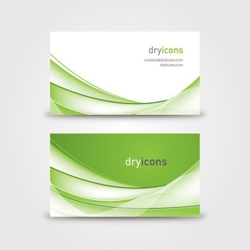 Green Waves Twofold Business Card - Free vector #200965