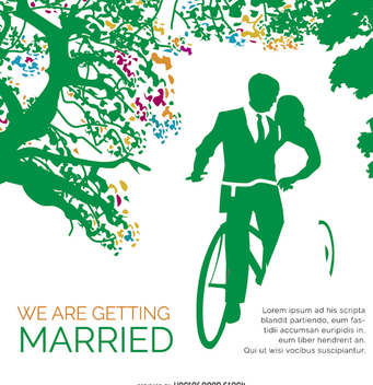 Wedding Invitation Card Vintage Bike - Free vector #201395