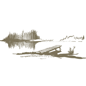 Hand Drawn Serene Lakeside Dock Vectors - Free vector #201865