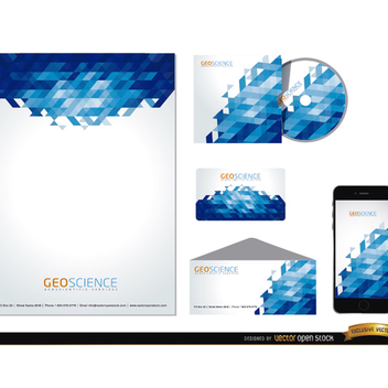 Blue Abstract Stationery Vector Set - vector gratuit(e) #202085