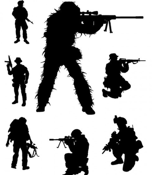 Vector Soldier Silhouettes - Free vector #202115