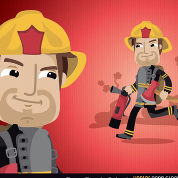 Fireman Cartoon Vector - Free vector #202265