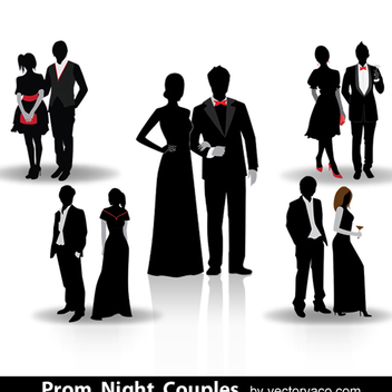 Free Vector Prom Night Couple Silhouette - vector #202625 gratis