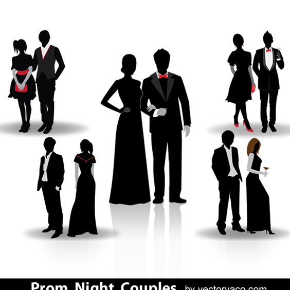 Free Vector Prom Night Couple Silhouette - Free vector #202625