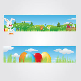 Happy Easter Headers - vector gratuit #202825