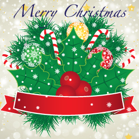 Merry Christmas Banner With Red Ribbon - vector gratuit(e) #203005