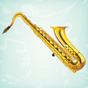 Realistic Saxophone Vector - Free vector #203155