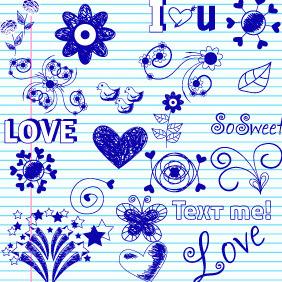 Doodle Love Elements 1 - Free vector #203975
