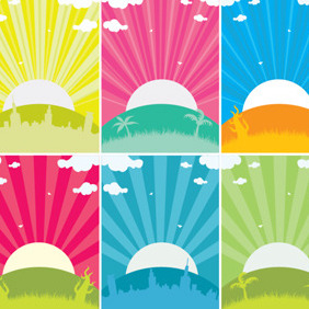 Sunset Cards - vector gratuit #204665