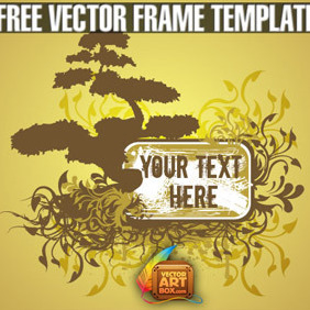Free Vector Floral Tree Frame Template - Free vector #204735