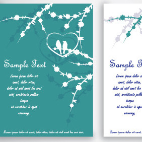 Green Birds In Love Card Design - Free vector #204925