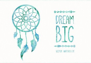 Watercolor Dreamcatcher Card - Free vector #205105