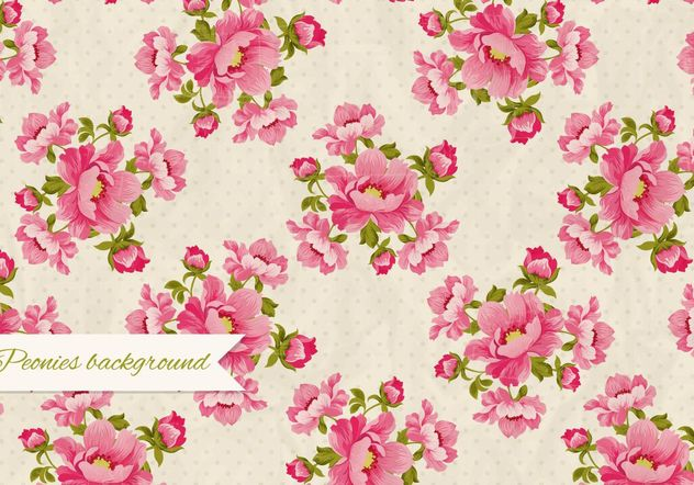 Peonies Retro Background - vector #205125 gratis