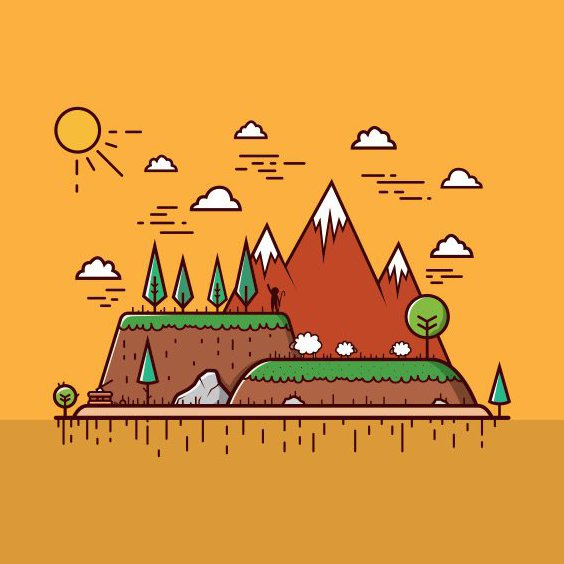 Flat Mountain Schafe - Free vector #205225
