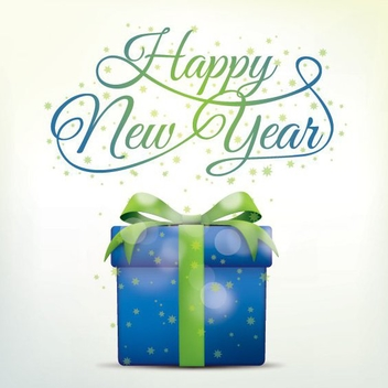 Happy New Year Present - vector gratuit #205255