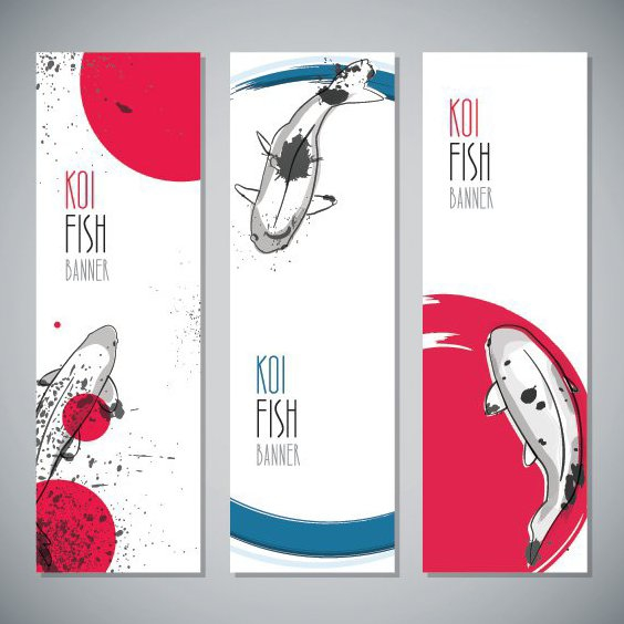 Koi Fish Banners - Free vector #205755