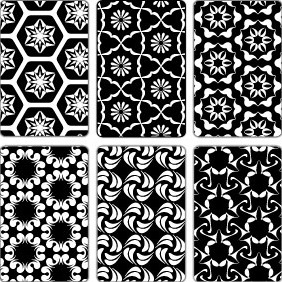 6 Black And White Seamless Patterns - Free vector #206105