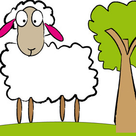 Cute Sheep Or Lamb With Crazy Eyes - Free vector #206505