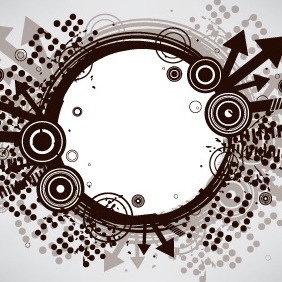 Brown Grunge Circle Banner - Free vector #206915