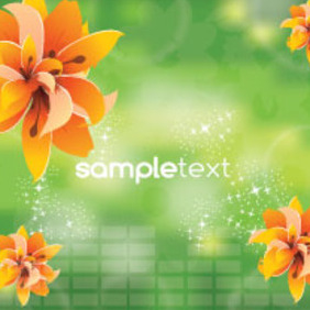 Four Orange Flowers Green Vector Background - Kostenloses vector #207335