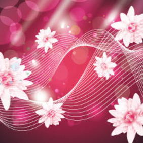 Super Pink Flowers Beauty Art Vector - Free vector #207625