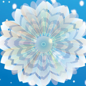 Blue Background With Wonderful Flowers - vector gratuit(e) #208045