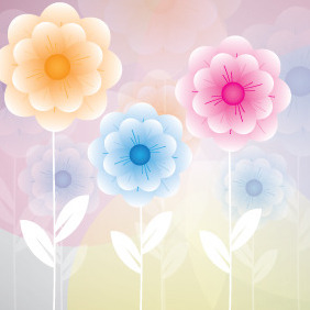 Flowers Background Design - Free vector #208055