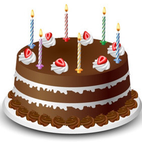 Chocolate Birthday Cake - Free vector #208095
