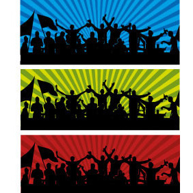 Football Fans Vector Banner - Kostenloses vector #208435