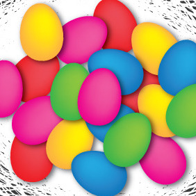 Easter Basket With Colored Eggs - vector gratuit #208535