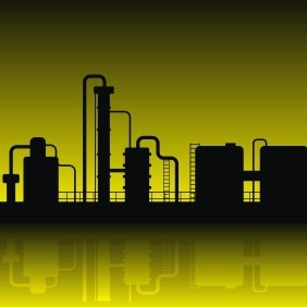 Oil Refinery Silhouette - Free vector #208585