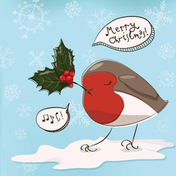 Christmas Robin - Free vector #208715