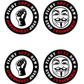 Fight Sopa Stickers - Kostenloses vector #209045