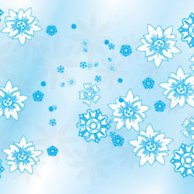 Blue Lined Flowers In Blue Background - vector gratuit #209535