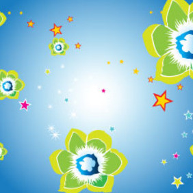 Green And Red Flowers In Blue Background - Free vector #209615