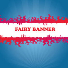 Red Fairy Banner In Blue Background - vector gratuit(e) #209765