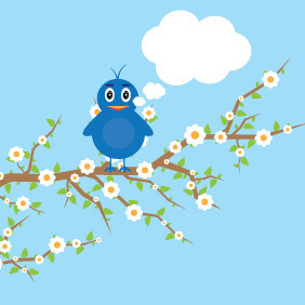 Bird On A Tree - vector gratuit #209825