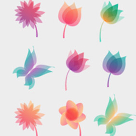 Pastel Floral Ornaments - Free vector #210225
