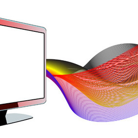 LCD TV With Waves - vector gratuit #210315