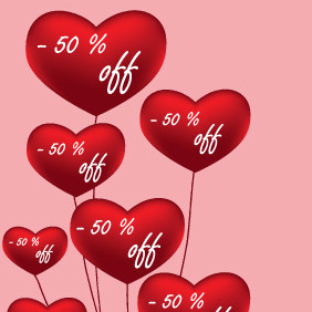 Red Love Balloon - Free vector #211105